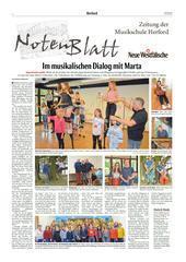 Hier geht's zur neuesten Ausgabe des «NotenBlatt«, unserer Musikschulseite der «Neuen Westfälischen Zeitung«.